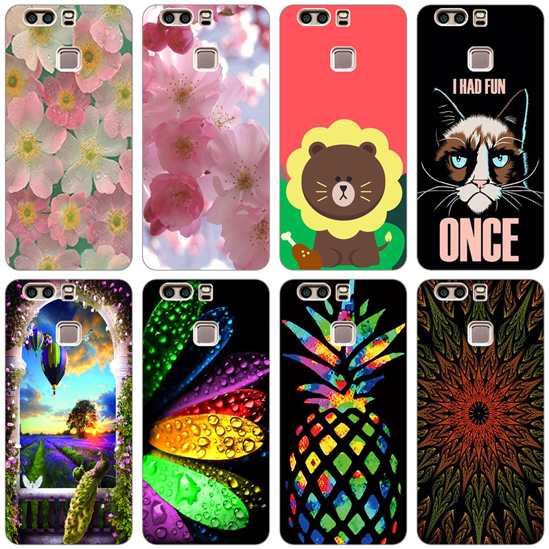 Silicone Case For Huawei P9 Case Back Cover For Huawei P9 EVA-L09 EVA-L19 EVA-L29 5.2 inch Phone Cases Painted Soft TPU Covers