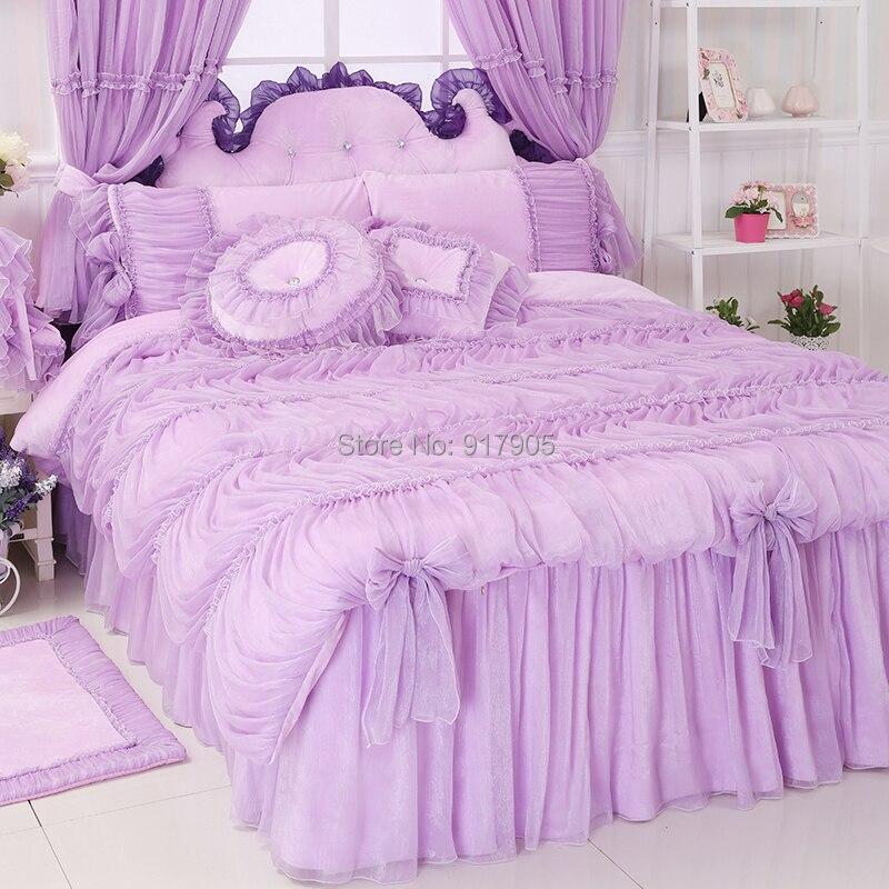 luxury lavender lace comforter sets queen twin size romantic pink purple princess duvet cover. Black Bedroom Furniture Sets. Home Design Ideas