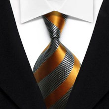 TS1078  Blue Orange Striped Multicolor Smooth Jacquard Woven Classic Silk Polyester Man's Business Luxury Tie Casual Necktie