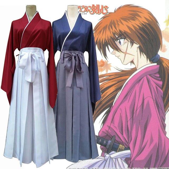 Rurouni Kenshin cellat Himura Kenshin Kimono Kendo Suit Cosplay kostüm