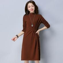 На весну и зиму Для женщин вязаное платье сплошного цвета с длинными рукавами дамы пуловер вязаный платья для женщин