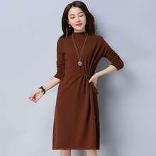 Spring Winter Women Knit dress solid color Long-sleeve ladies Pullover knitted dresses For Female
