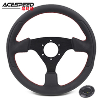 Steering Wheel 13inch Leather Stitching Flat Racing Steering Come with Horn Button