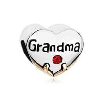 New product Crystal heart love grandma grandmother bead charm bracelet Fit Pandora Bracelet