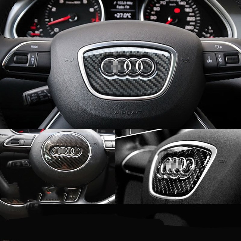 Real Carbon fiber steering wheel center sticker for audi A4 b6 a4l A1 A3 A5 A6L A7 Q7 Q5 Q3 A8 car <font><b>accessories</b></font>
