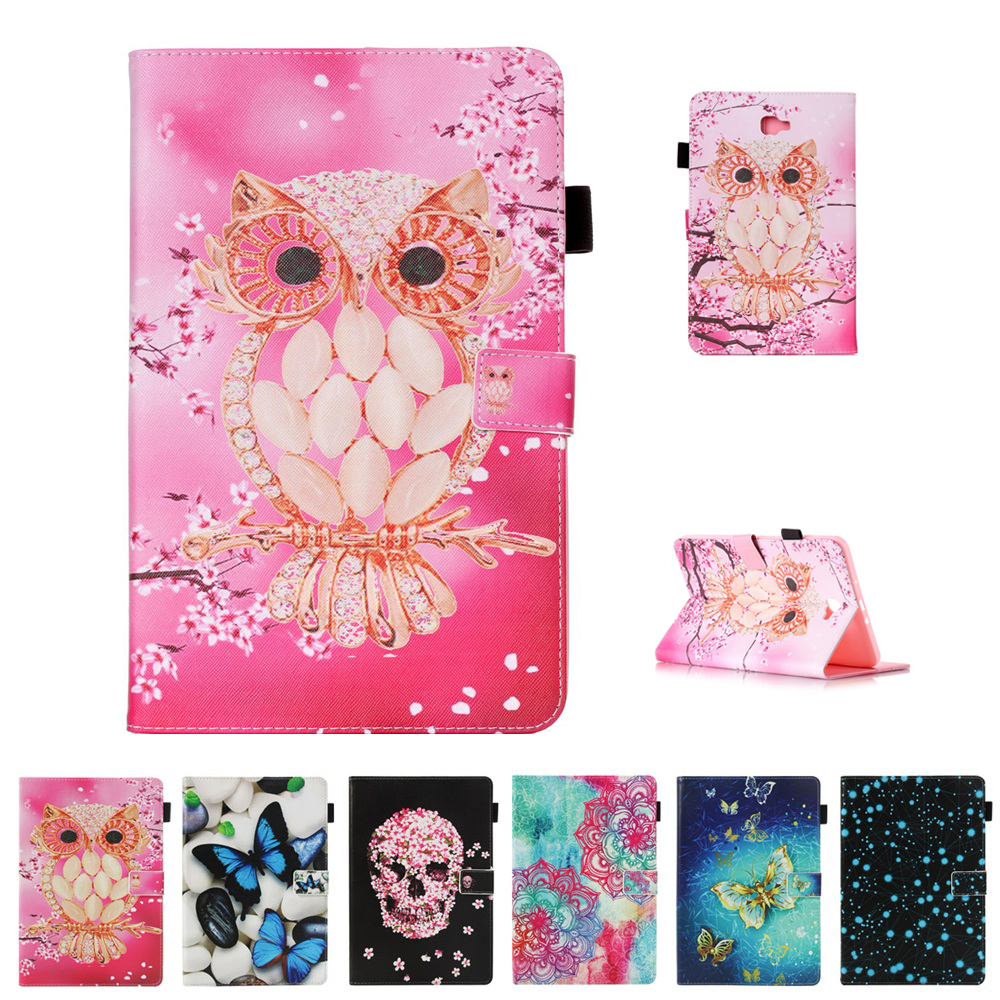 Cartoon Tablets Case For Samsung Galaxy Tab A 10.1 T580 T585 PU Leather Books Stand Protective Case Cover Shell