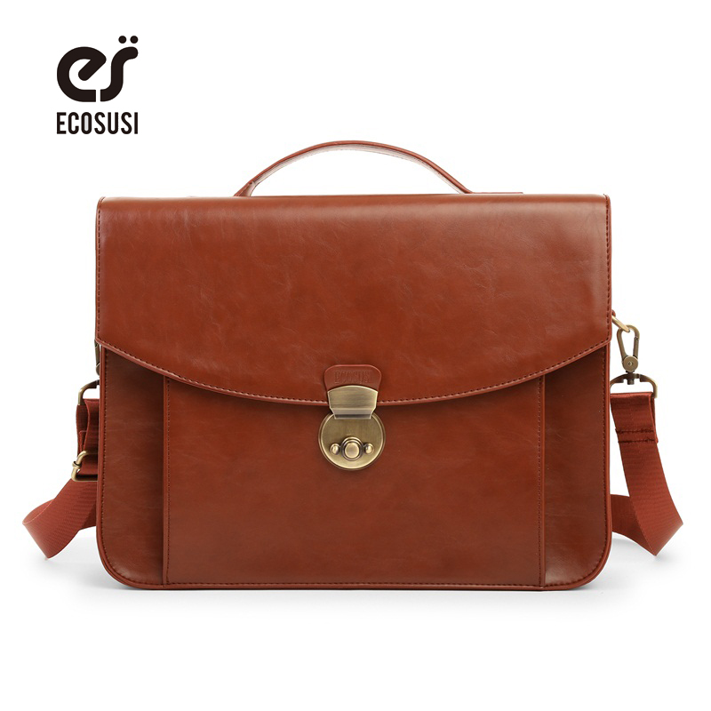 ECOSUSI New Fashion Women Leather Messenger Bags Vintage Women Satchel Bag Leather Briefcase Handbag Bag Laptop Bag new leather women bag white fashion satchel simple atmosphere retro handbag speedy bag