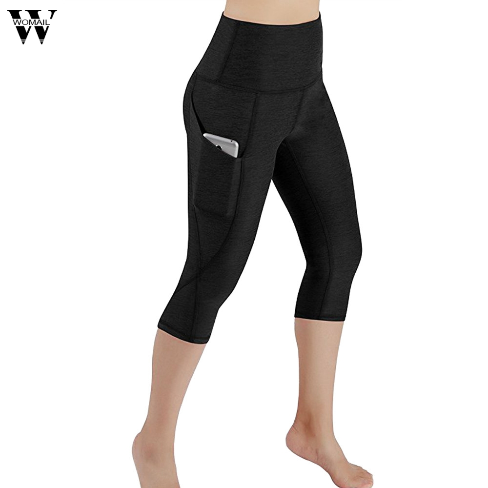 2018 Spring Summer New Ladies Workout Out Pocket Legging sharem Pants Breathable Thin Casual Calf-Length Pants Trousers Women 17