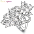 Yunkingdom Charm Vintage Design Ring White Gold Plated Rings For Women White Cubic Zirconia Ring Bride's Wedding Jewelry ALP0661