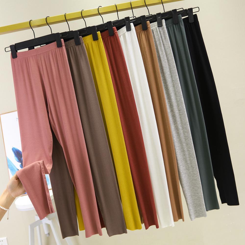 Fashion Ribbed Plus Size Women Thin Black High Waist Cotton Skinny Leggings Basic Fitness Pants High Elastic Stretch Material