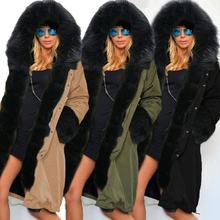 Europe United 2016 Autumn Winters Latest Fashion Women Coat Hooded fur collar Keep warm Loose Leisure Long cotton Coat G1157