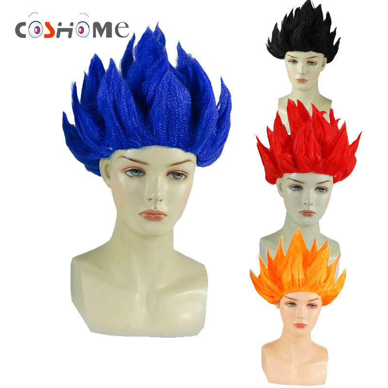 Coshome Goku Cosplay Wigs Dragon Balls Super Saiyan Blue Red Black Yellow Goku Peluca Anime Men Adult Women Hair