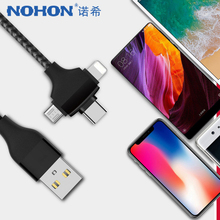 NOHON 3 in 1 USB Cable For iPhone X XS MAX XR 8 Micro Type C Android Phone  Xiaomi Samsung Huawei Fast Charging Cord