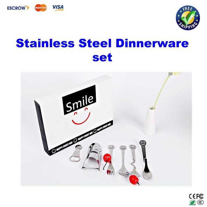 Stainless Steel Dinnerware set spoons fork scraper plane bottle opener