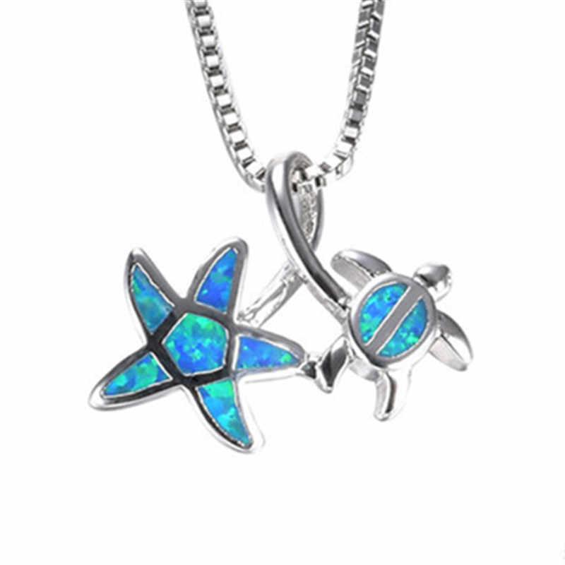 Fashion Silver Filled Blue Imitati Opal Sea Turtle Pendant Necklace for Women Female Animal Wedding Ocean Beach Jewelry Gift