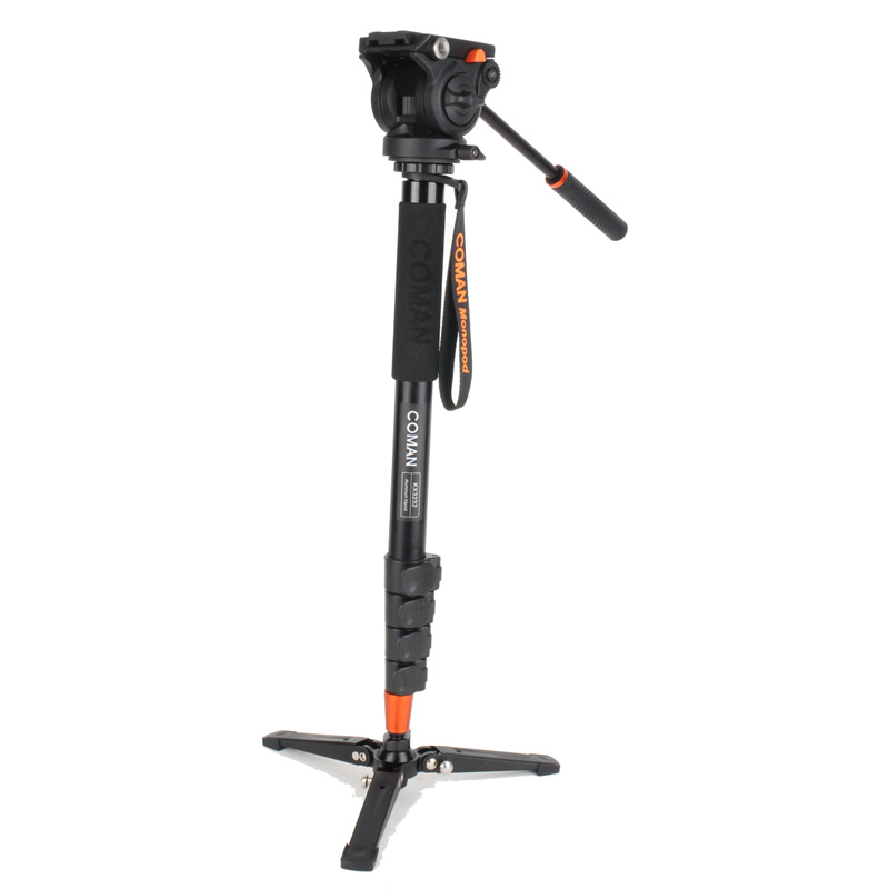 Coman Professional Photography Tripod Monopod Aluminum Alloy Fluid Video Head with Three feet support stand