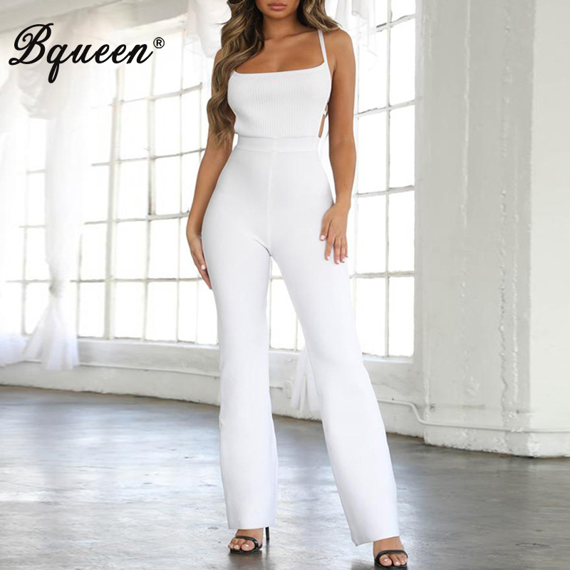 Bqueen New Fashion Women's Bodycon Sheanth Strapless Sleeveless Slash Neck Backless Hollow Out Long Pants Jumpsuit 2019
