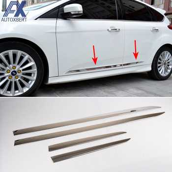 AX Stainless Side Door Lining Body Molding Chrome Trim Cover Protector For Ford Focus 3 Mk3 2012 2013 2014 2015 2016 2017 2018