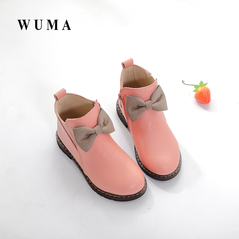 WUMA 2017 Spring Autumn Genuine Leather Girls Boots Kids Shoes Children Boots New Brand Rubber Toddler Baby Girls Shoes Handmade aadct spring new travel children shoes low cut casual boys running shoes real leather kids shoes for little girls brand