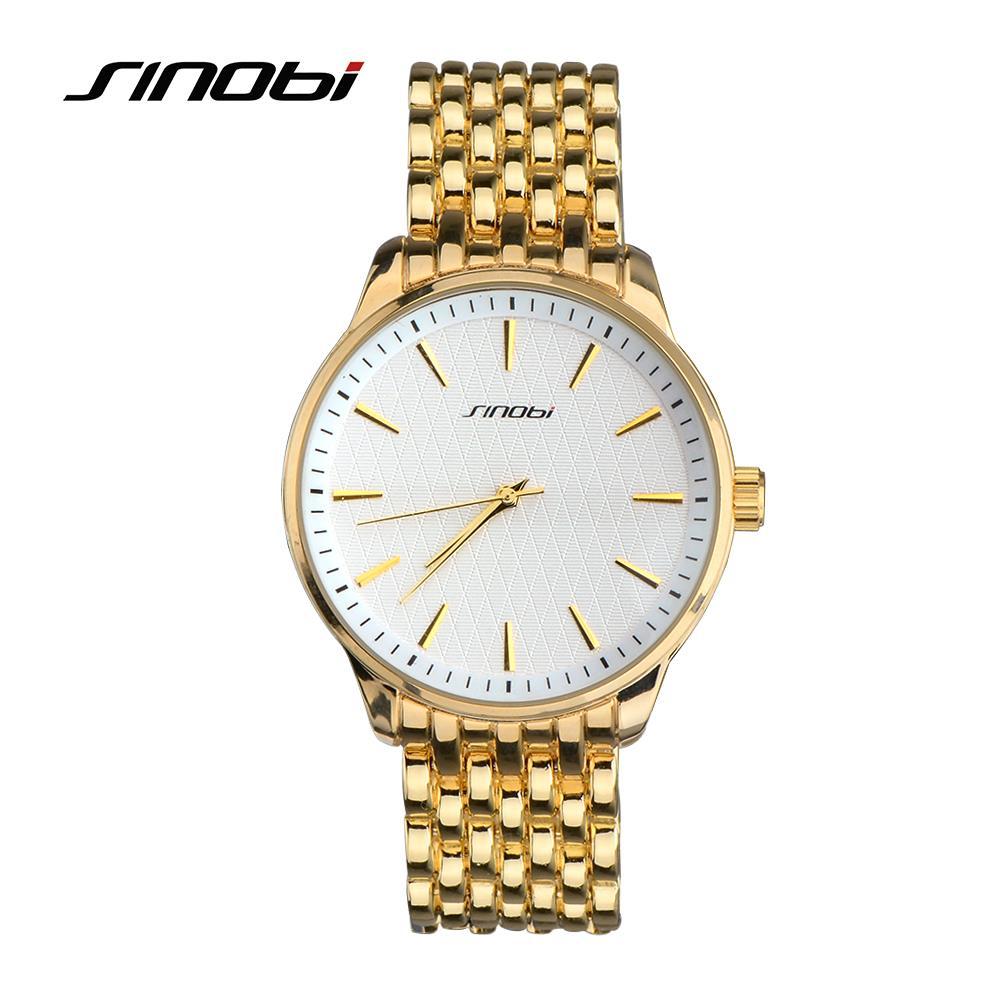 Prix pour SINOBI Montres Femme Top Marque De Luxe Pleine Montre En Or Métallique Femmes Quartz-Montre Horloge de Table