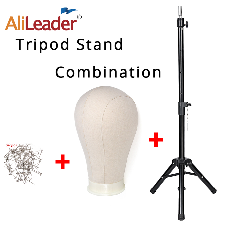 Luxury 21 22 23 24 25Inch Canvas Block Head With Stand 50Inch Tripod Stand Holder Training Manikin Head For Wigs Making 50T Pins