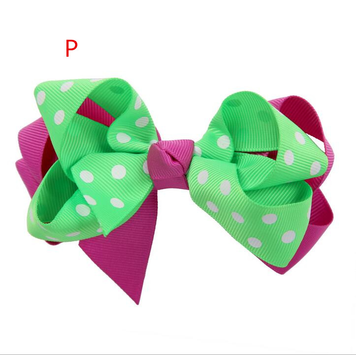 100pcs Shocking pink and Green Double Layered B outique Lush Hair Bow