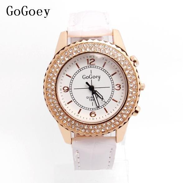 Hot Sales Gogoey Leather Watch Women Ladies Crystal Dress Quartz Wristwatch Relojes Mujer GO080