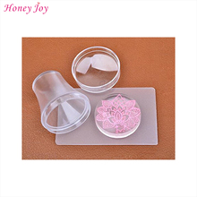 Nail Stamp 4cm Big Pure Clear Jelly Nail Art Stamper Scraper with Cap Manicure Polish Silicone Nail Stamping Template PrintTools