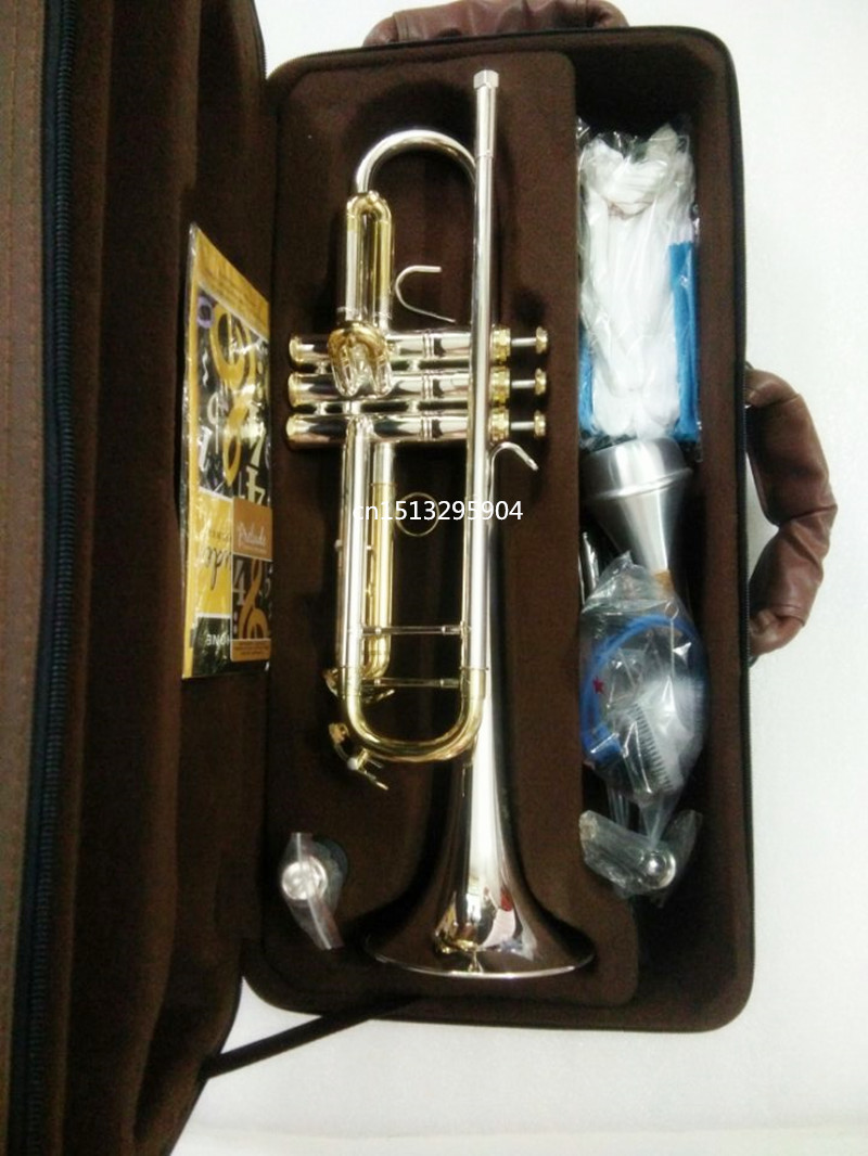 Trumpet DHL FREE Superior LT-180S-43 Silver Bach Trumpet Professional Brass High Class Trumpet Musical Instrument beautiful boxs new genuine americano top bach trumpet gold and silver plated silver ab 190sbach small musical instruments professional