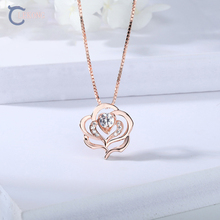 Lekong 925 Silver Rose Romantic Pendant Necklace for Women as Valentine's Day G