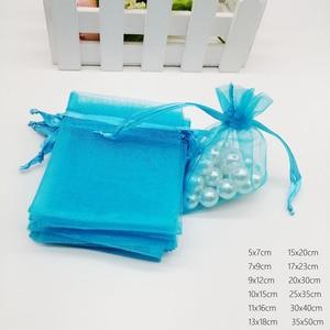 Image 5 - Göl Mavi organze çanta büzme ipli kese çanta hediyelik takı kutusu Için Küpe/Kolye/Yüzük/Takı Ekran Ambalaj Çanta Organizatör