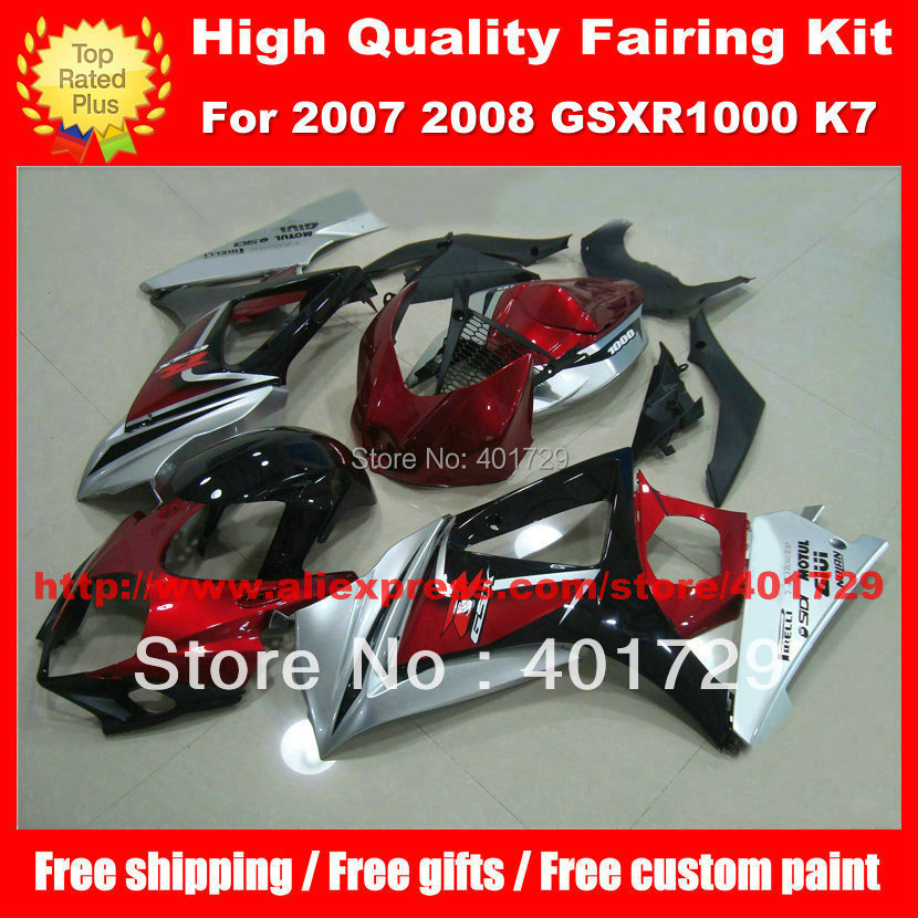 High grade Motorcycle body work for SUZUKI GSX- R1000 2007 2008 GSXR1000 07 08 K7 mix color fairings body kit