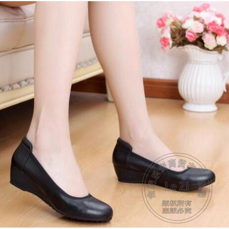 Slip On Nurse Korean Soft Leather New Arrival Pumps Black Wedge Dress Wedges Single Work Shoes