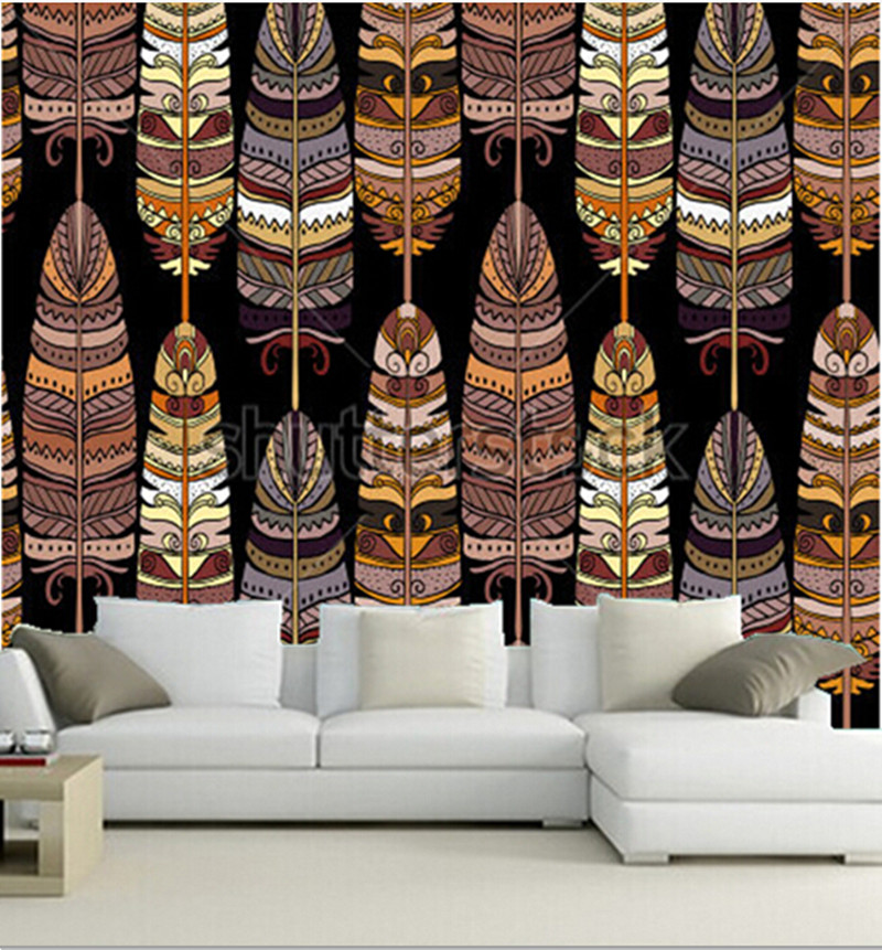 Custom 3D large  murals, birds feathers boho  pattern papel de parede,living room sofa TV wall bedroom background wall paper custom 3d large mural china style meilanzhuju woodcarving murals papel de parede living room sofa tv wall bedroom wall paper
