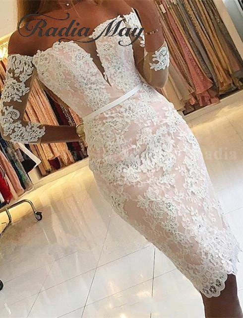 Elegant White Lace Pink Short Cocktail Dresses 3/4 Long Sleeves Knee Length Plus Size Women Semi Formal Dress 2019 Party Gowns