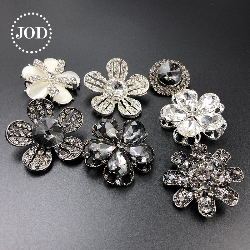 JOD* Metal Rhinestones Buttons for Clothing Decorative Button Diamond for Clothes Crystal Women Sewing Applications DIY Black