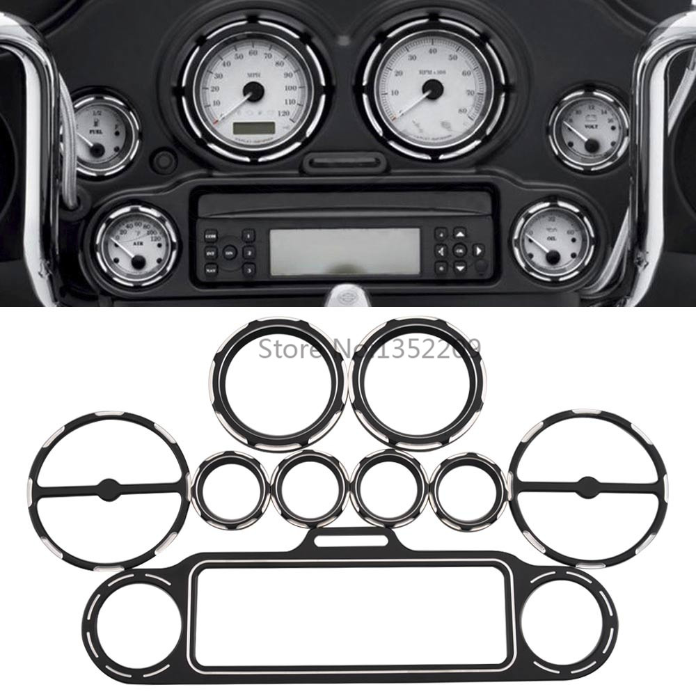 Motorcycle Inner Fairing Trim Burst Guage Panel Covers Radio Bezel Stereo Accent Trim Ring For Street