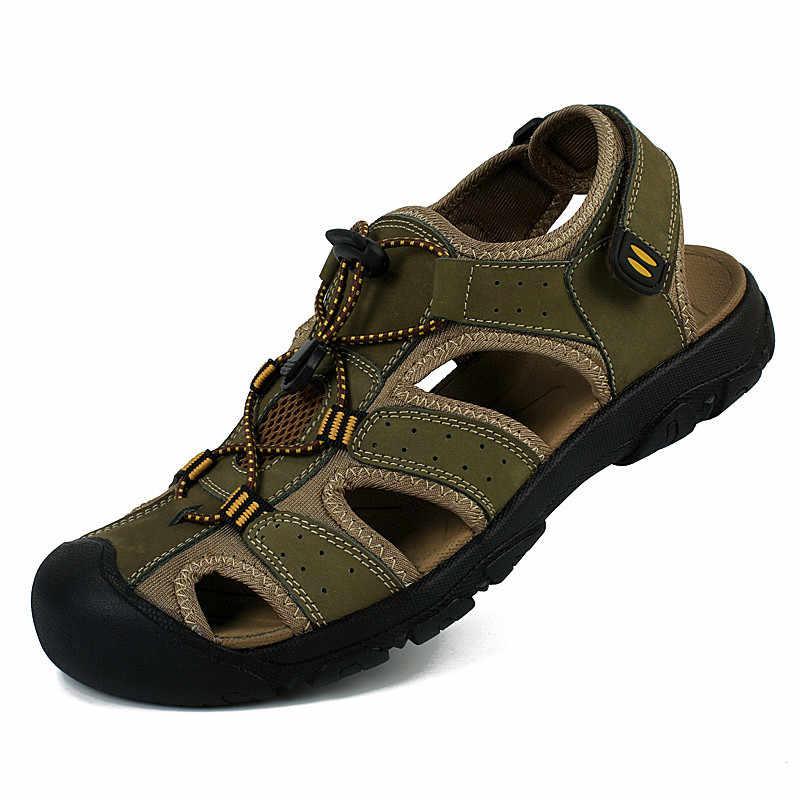Erkek Sandalet Tam Tahıl Deri Sandalet Erkekler Yaz Ayakkabı Daireler Yüksek Kaliteli Erkek plaj sandaletleri Marka Zapatos Hombre PINSV