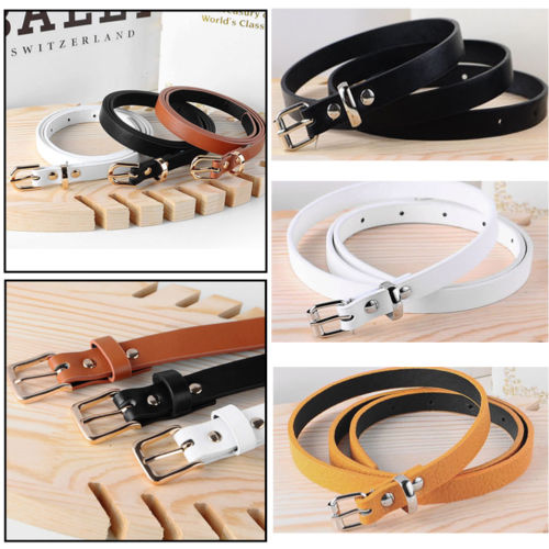 Hirigin Fashion Women  Girl Skinny Waist Belt Thin Leather Narrow Waistband