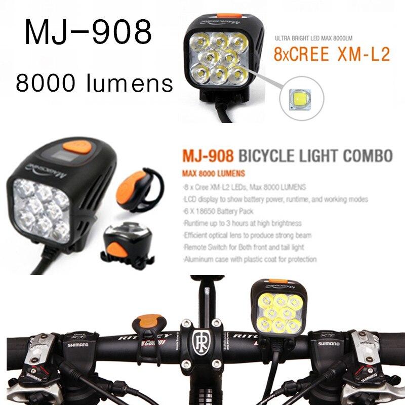 Magicshine MJ-908 MJ908 éclairage vélo Combo VTT Route Vélo Phare Haute-Lumineux Feu Arrière Combinaison 8000 lumens étanche