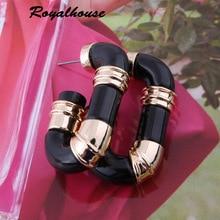 Royalhouse Hoop Earrings Ear Ring Gold Resin Earring For Women De Mujer metal Brand Earring Boucles Oorbellen jewelry
