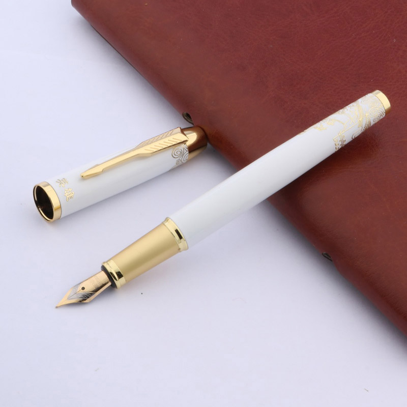 Hot High Quality Black Red White Chinese Ceramic The Great Wall Fountain Pen Gold Nib Medium