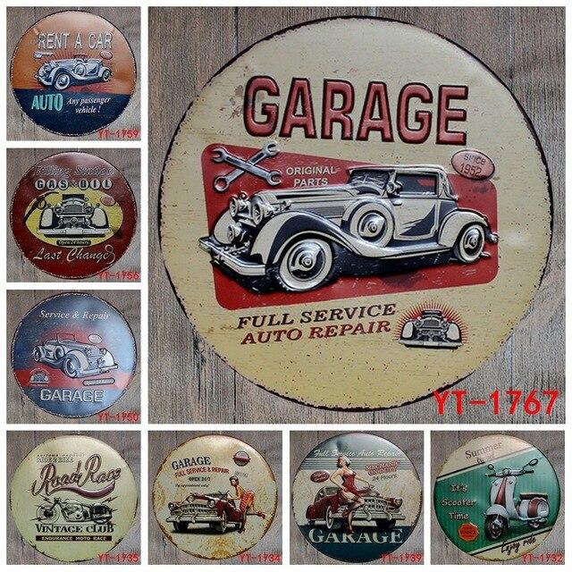30X30 CM/runde Platten Antike Retro Metallblechschilder Auto Garage Roller  Motorrad Eisen Malerei Poster Vintage