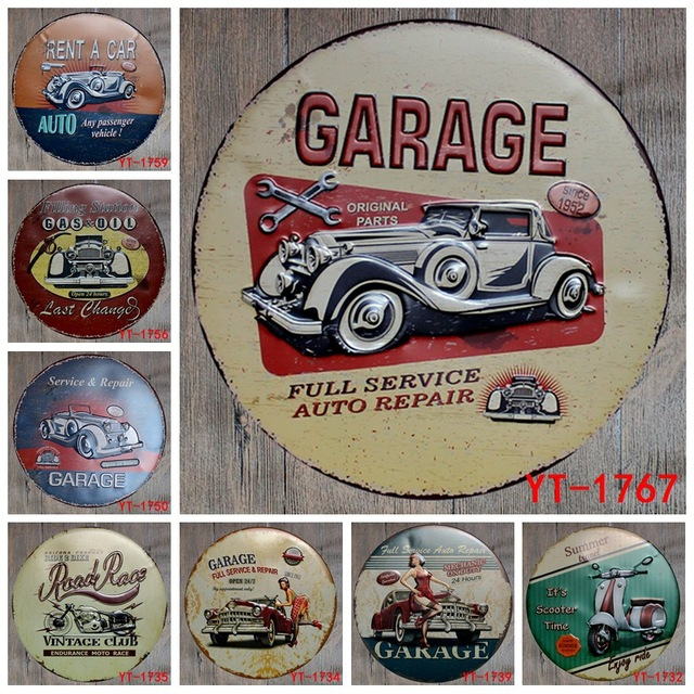 30X30CM Round Plates Antique Retro Metal Tin Signs Car Garage Scooter Motorcycle Iron Painting Poster