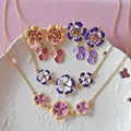 Pink Purple Flower Earring and necklace Jewelry Sets Party Accessories Women Jewelry