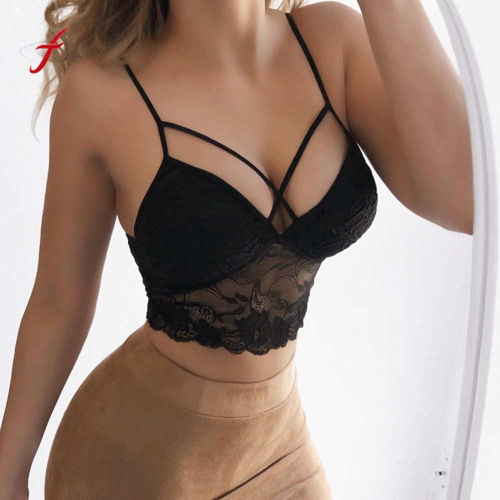 20ab74964ed Sexy Solid Bralette Bustier Crop Top Bra Shirt Women Intimates Female Lace  Strap Wrapped Chest Shirt