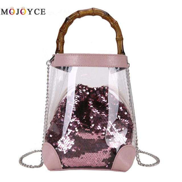 2pc set Bling Sequins Clutch Handbag Girl Clear PVC Bucket Chain Crossbody  Bag for Women Ladies Transparent Mini Tote ea524658171a3