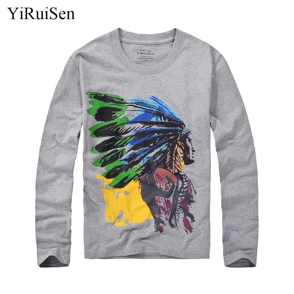 Yiruisen brand indian character print design long sleeve t for Soft cotton long sleeve shirts