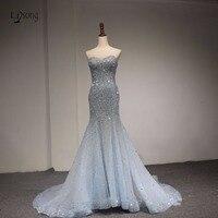 Luxury Dubai Beaded Mermaid Prom Dresses 2018 Sparkle Sequined Crystal Pleated Prom Gowns Sweetheart Plus Size Abendkleider