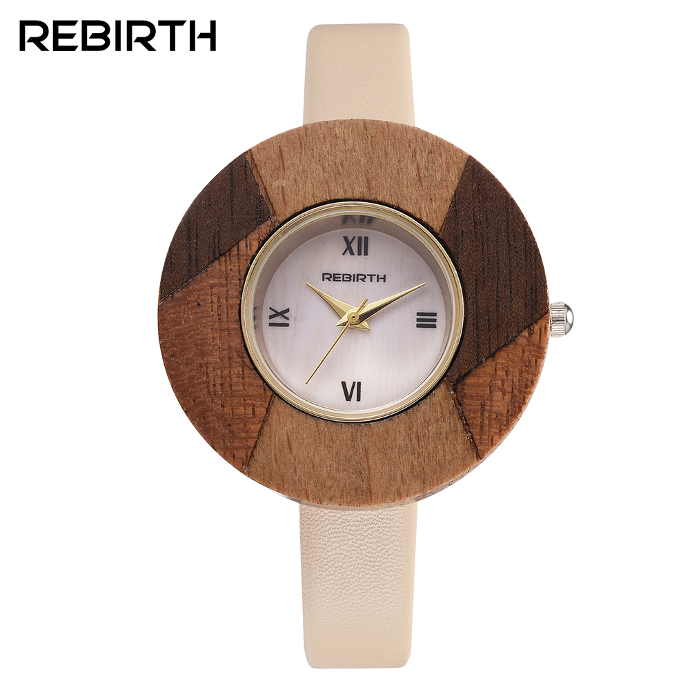 2017 Dress Watches Women Waterproof REBIRTH Fashion Brand Wooden Quartz Ladies Watch Casual Female Clock with Leather band new design square women watches rebirth popular brand fashion casual ladies watch quartz clock grey wristwatches reloj mujer